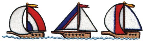 "Embroidery Design: Sailboats6.17"" x 1.68"""