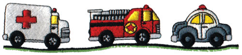"""Embroidery Design: Emergency Vehicles6.06"""" x 1.29"""""""