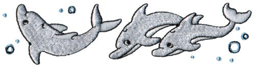 "Embroidery Design: Dolphins5.96"" x 1.57"""