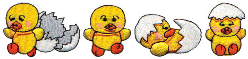 """Embroidery Design: Chick Hatching6.15"""" x 1.37"""""""
