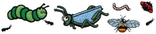 """Embroidery Design: Insects5.95"""" x 1.33"""""""