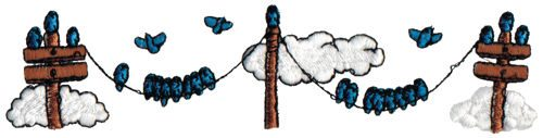 "Embroidery Design: Birds on Telephone Lines6.47"" x 1.55"""