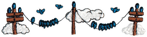 """Embroidery Design: Birds on Telephone Lines6.47"""" x 1.55"""""""