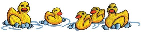 "Embroidery Design: Rubber Duckies5.95"" x 1.25"""