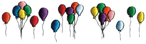 "Embroidery Design: Balloons5.93"" x 1.72"""