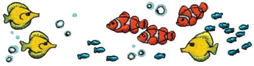 "Embroidery Design: School of Fish5.99"" x 1.49"""