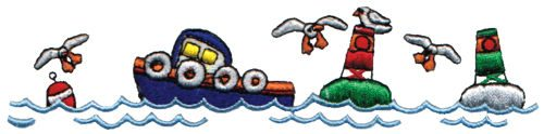 "Embroidery Design: Tug Boat6.05"" x 1.45"""