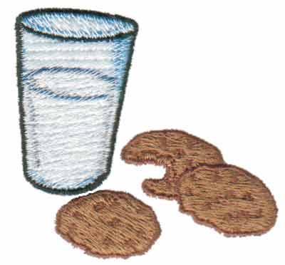 "Embroidery Design: Cookies & Milk2.40"" x 2.16"""