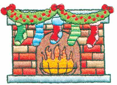"""Embroidery Design: Fireplace Trimmed with Stockings3.45"""" x 2.42"""""""