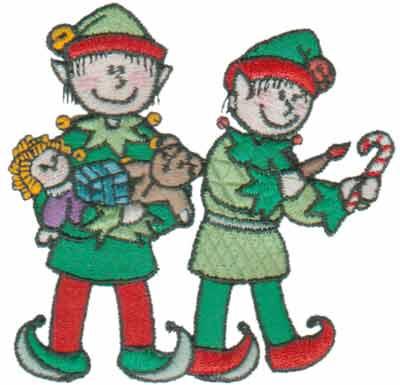 """Embroidery Design: Busy Little Elves3.45"""" x 3.36"""""""