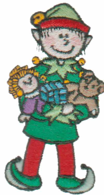 """Embroidery Design: Elf with Toys1.57"""" x 3.00"""""""