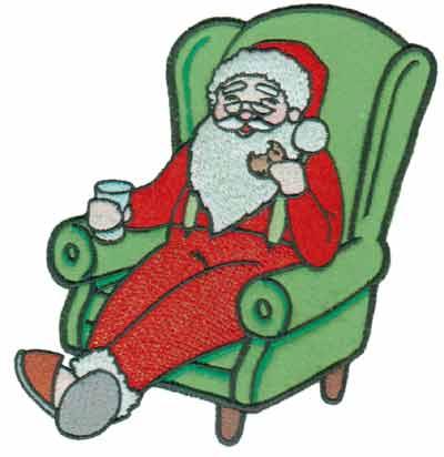 "Embroidery Design: Santa in Armchair Applique5.92"" x 6.01"""