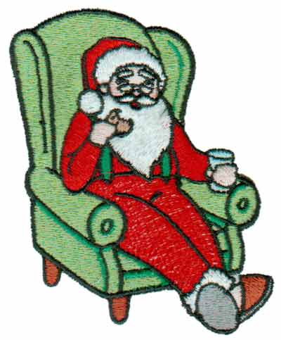 "Embroidery Design: Santa In Armchair3.01"" x 3.70"""