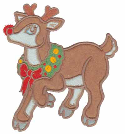 "Embroidery Design: Rudolph Reindeer Applique5.02"" x 5.51"""