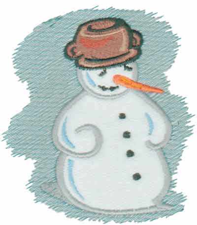 "Embroidery Design: Frosty Snowman Applique4.17"" x 4.62"""