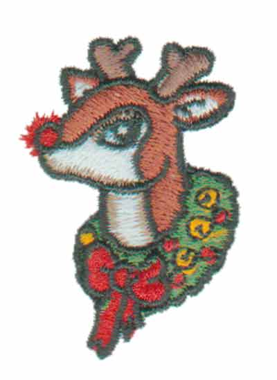 "Embroidery Design: Rudolph Head1.29"" x 1.83"""