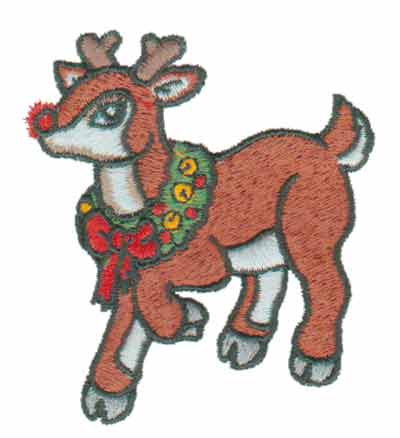 "Embroidery Design: Rudolph the Reindeer2.67"" x 2.93"""