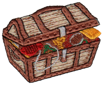 "Embroidery Design: Treasure Chest2.72"" x 2.32"""