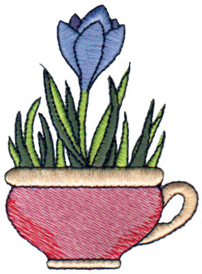 "Embroidery Design: Crocus in Mug2.52"" x 3.41"""