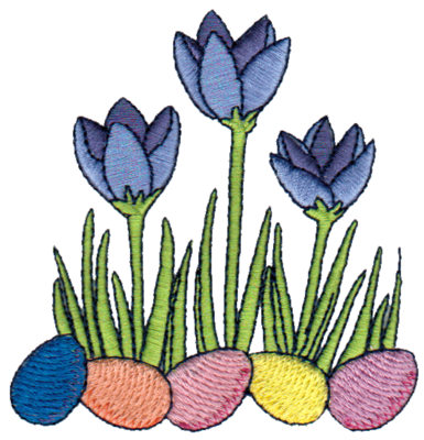 "Embroidery Design: Crocuses in Garden3.46"" x 3.58"""