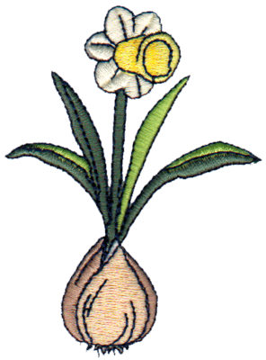 "Embroidery Design: Daffodil2.53"" x 3.43"""