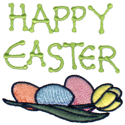 """Embroidery Design: Happy Easter - Eggs & Daffodil2.95"""" x 2.97"""""""