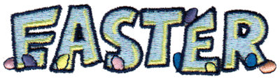 """Embroidery Design: Easter - Text & Eggs3.96"""" x 1.03"""""""