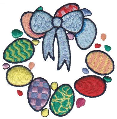 "Embroidery Design: Egg Wreath 23.40"" x 3.41"""