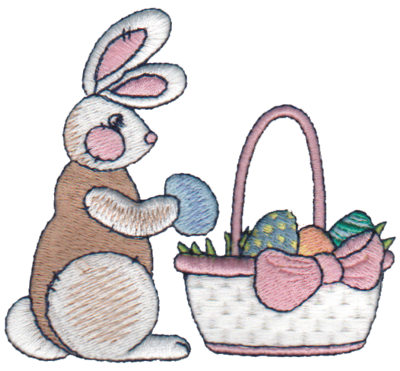 "Embroidery Design: Rabbit Hiding Eggs3.47"" x 3.11"""