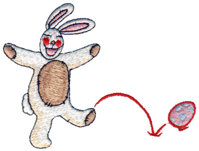 "Embroidery Design: Rabbit Playing with Eggs4.02"" x 3.03"""