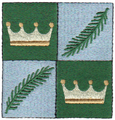 """Embroidery Design: Crowns & Palms2.98"""" x 3.03"""""""