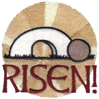 """Embroidery Design: Risen!3.38"""" x 3.37"""""""