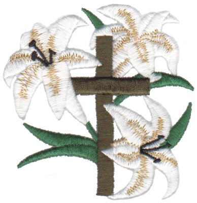 "Embroidery Design: Easter Lilies3.18"" x 3.25"""