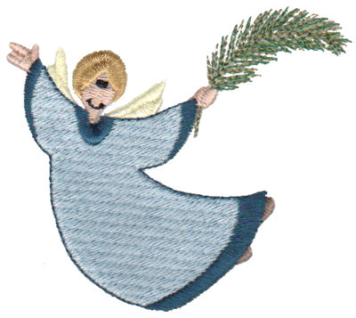 "Embroidery Design: Angel with Palm Leaf3.41"" x 3.05"""