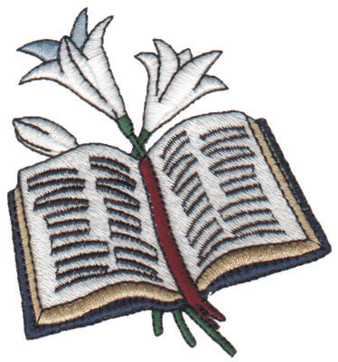 """Embroidery Design: Bible & Lilies3.14"""" x 3.28"""""""