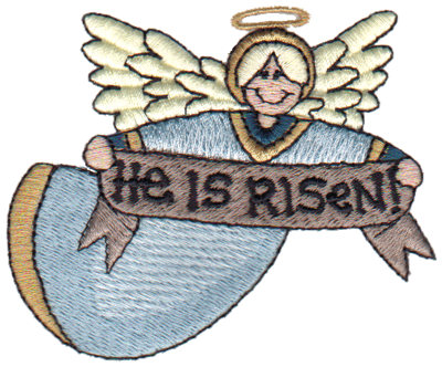 """Embroidery Design: Angel - He Is Risen!3.27"""" x 2.64"""""""