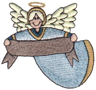 """Embroidery Design: Angel with Banner3.07"""" x 2.89"""""""