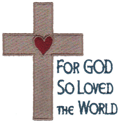 """Embroidery Design: For God So Loved the World3.39"""" x 3.42"""""""