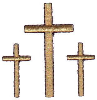"Embroidery Design: Trinity of Crosses2.00"" x 2.02"""