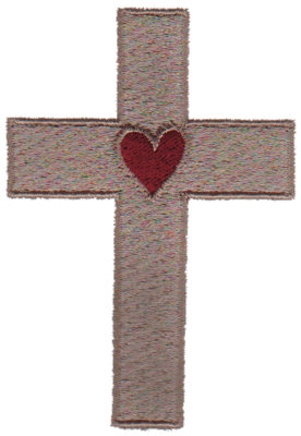 """Embroidery Design: Heart In Cross2.38"""" x 3.42"""""""