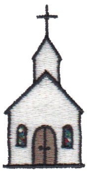 "Embroidery Design: Church1.12"" x 2.21"""