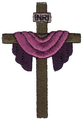 "Embroidery Design: INRI Cross & Cloth2.32"" x 3.38"""