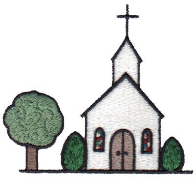 """Embroidery Design: Church Scene3.43"""" x 3.01"""""""