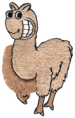"Embroidery Design: Fringe Llama1.96"" x 3.20"""