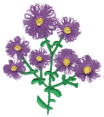 "Embroidery Design: Purple Aster2.82"" x 3.23"""