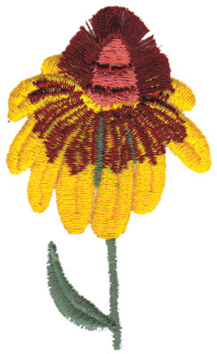 "Embroidery Design: Coneflower2.05"" x 3.28"""
