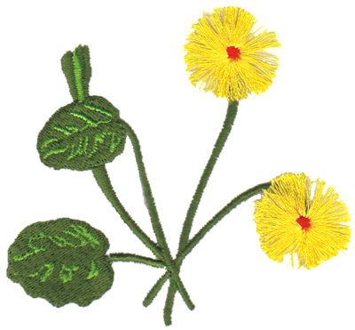 "Embroidery Design: Yellow Flowers3.77"" x 3.59"""