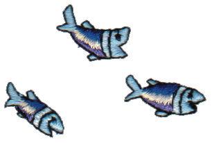 "Embroidery Design: Three Guppies0.9"" x 1.28"""