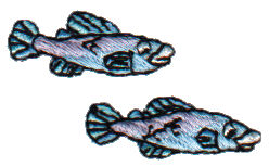 "Embroidery Design: 2 Small Blue Fish1.56"" x 0.87"""