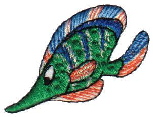 "Embroidery Design: Green Fish1.86"" x 1.50"""